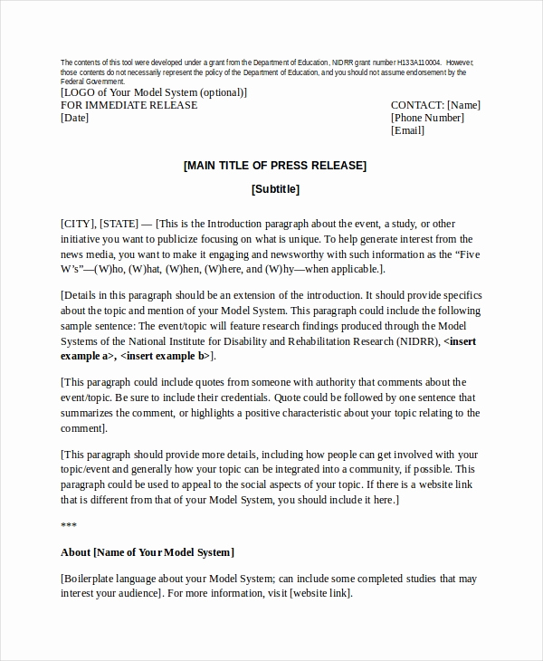 Sample Press Release Template Luxury Press Release Template 21 Free Word Pdf Document