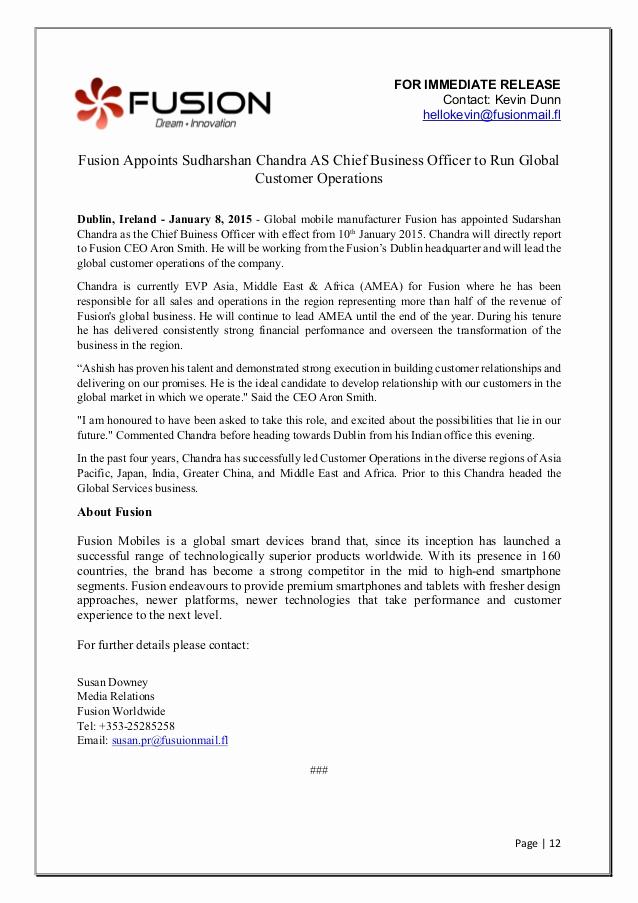 Sample Press Release Template New Sample Press Release