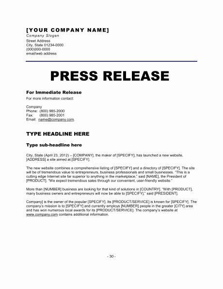 Sample Press Release Template Unique 6 Press Release Templates Excel Pdf formats
