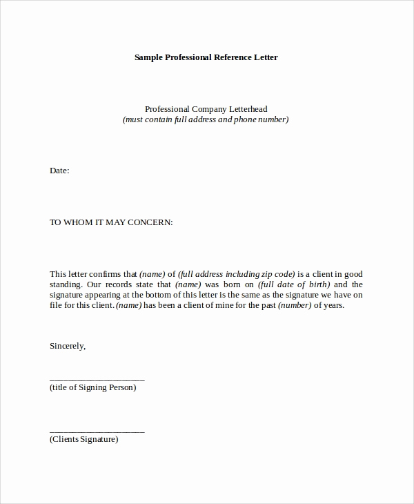 Sample Professional Reference Letter Elegant 8 Reference Letter Samples Pdf Word