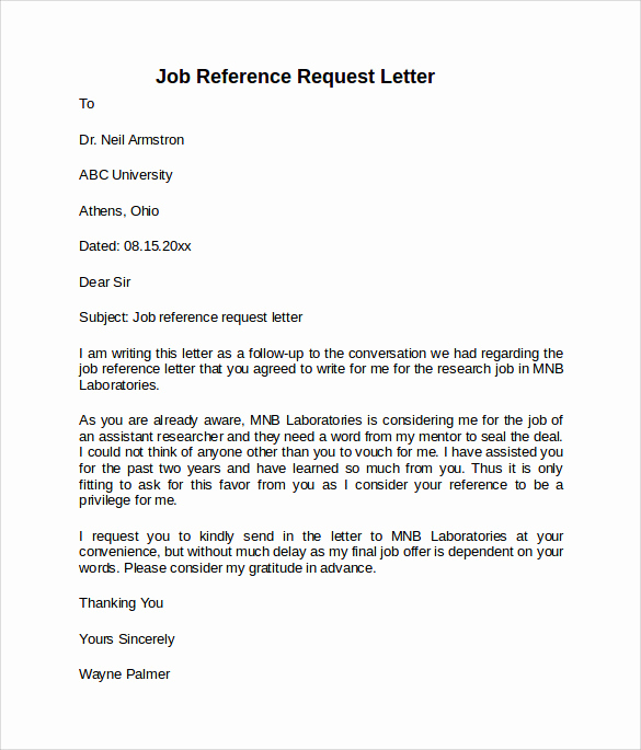Sample Recommendation Letter for Job Awesome Job Reference Letter 7 Free Samples Examples & formats