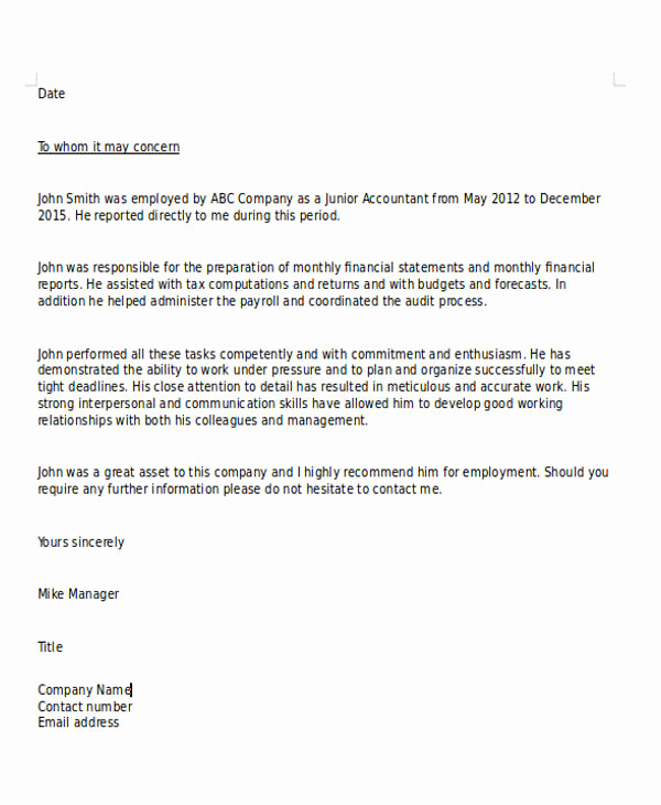 Sample Recommendation Letter for Job Awesome Sample Character Reference Letter format 6 Examples In