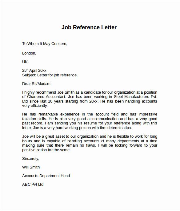 Sample Recommendation Letter for Job Elegant Job Reference Letter 7 Free Samples Examples & formats