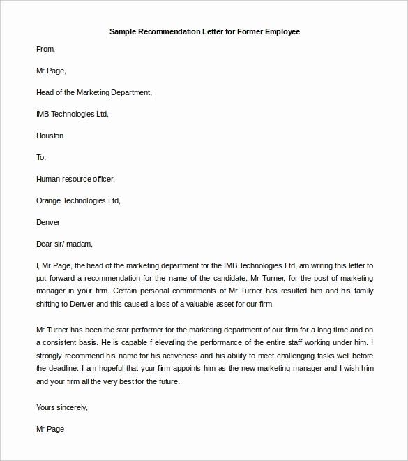 Sample Recommendation Letter for Job Elegant Re Mendation Letter format