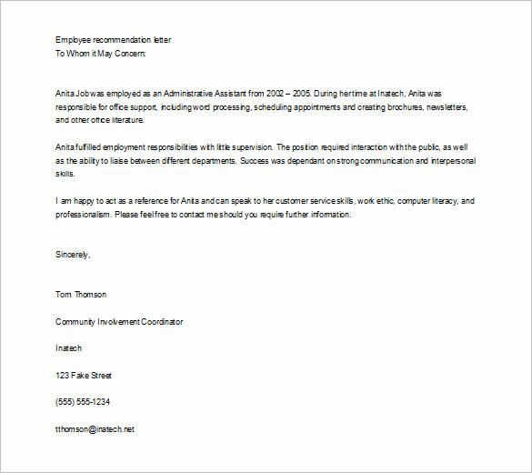 Sample Recommendation Letter for Job Inspirational Job Re Mendation Letter Templates 15 Sample Examples