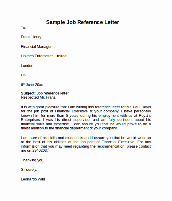 Sample Recommendation Letter for Job Lovely Job Reference Letter 7 Free Samples Examples & formats