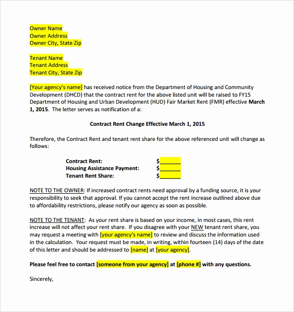 Sample Rent Increase Letter New 9 Sample Rent Increase Letter Templates Pdf Word