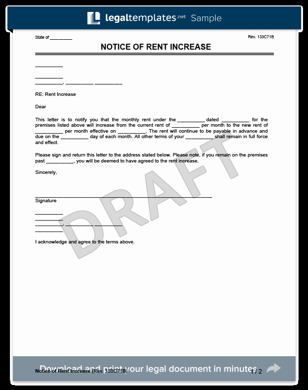 Sample Rent Increase Letter New Create A Rent Increase Notice In Minutes