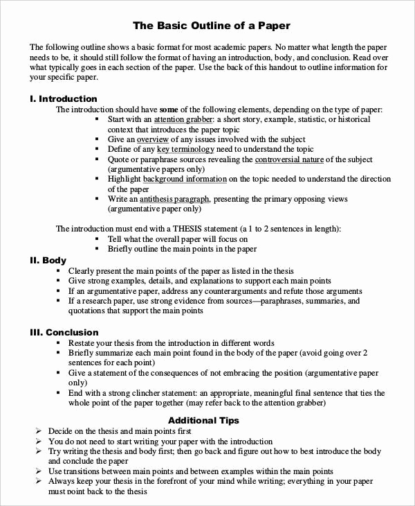 Sample Research Paper Outline Inspirational Basic Research Paper Outline Template