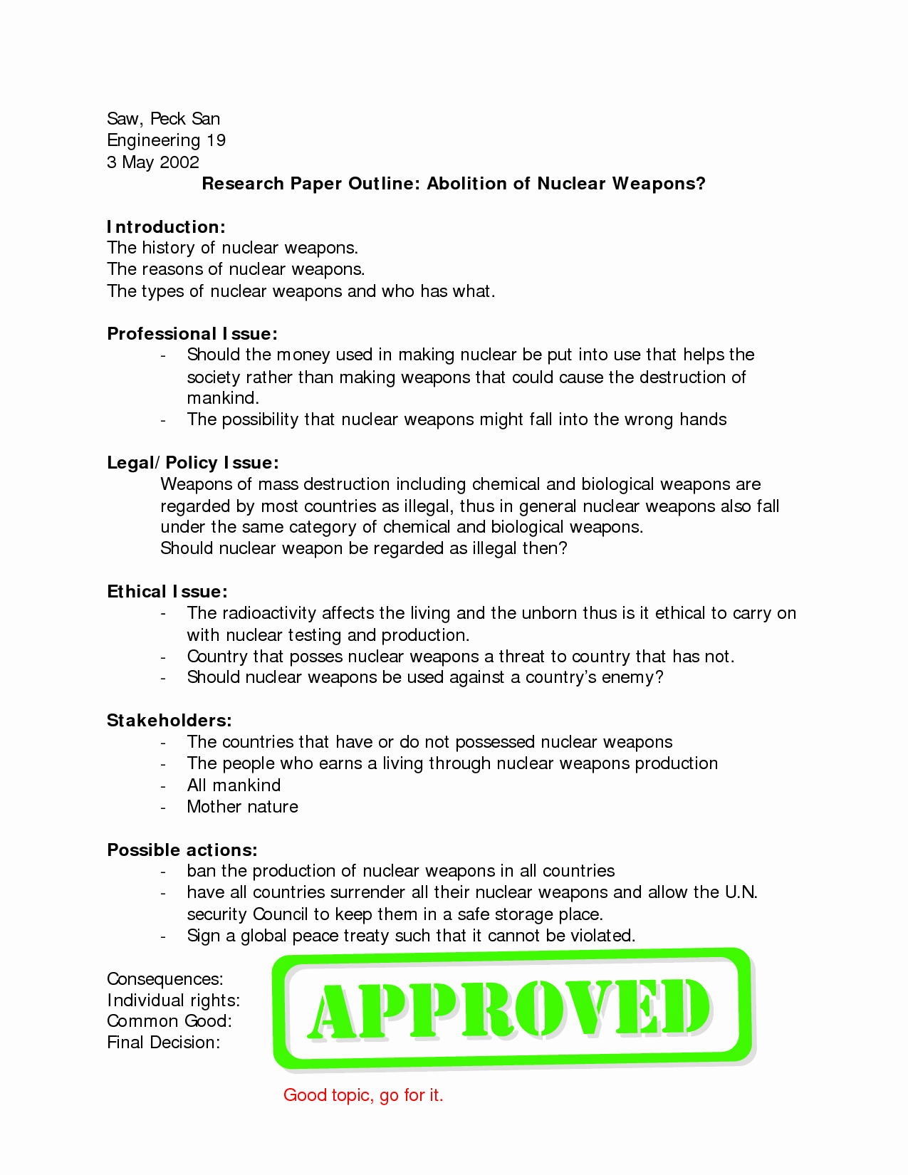Sample Research Paper Outline Unique Research Paper Writing Course Outline