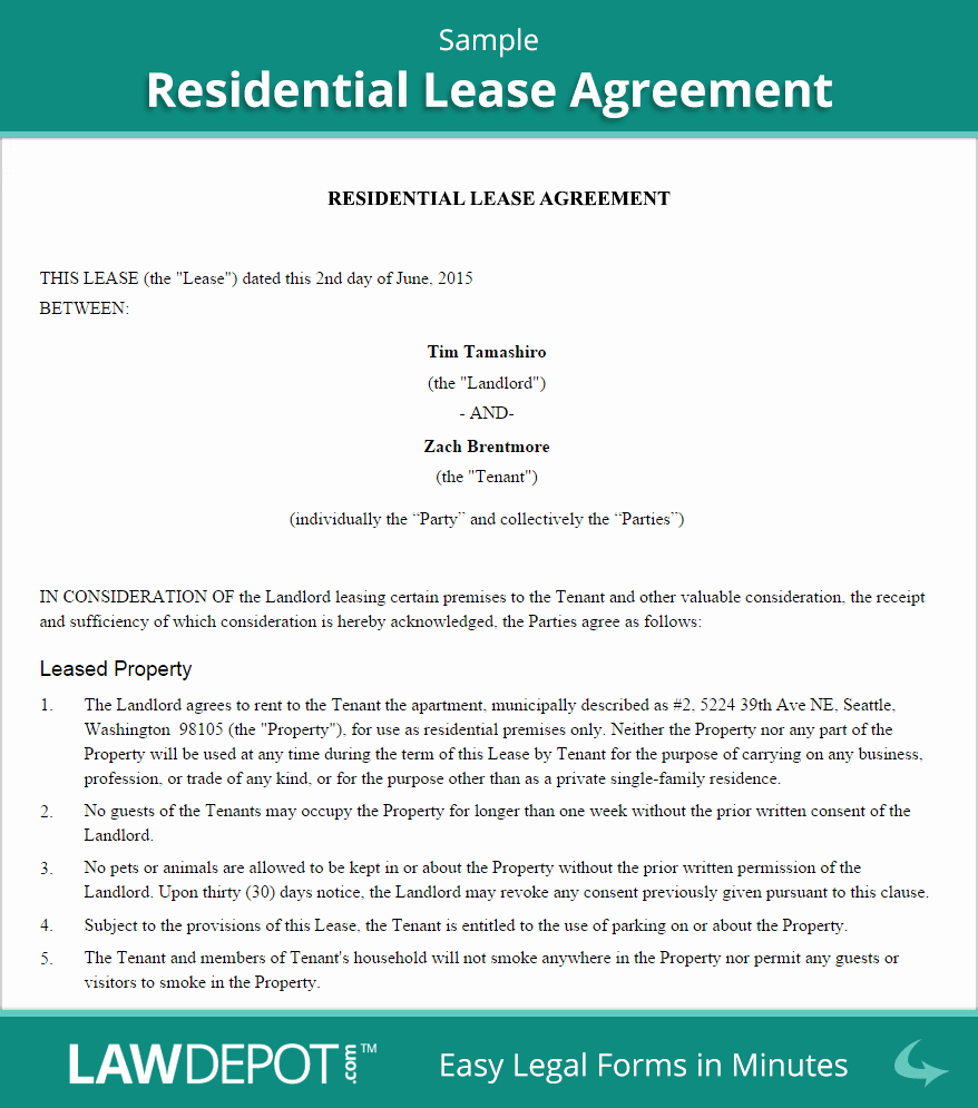 Sample Residential Lease Agreement Awesome Residential Lease Agreement