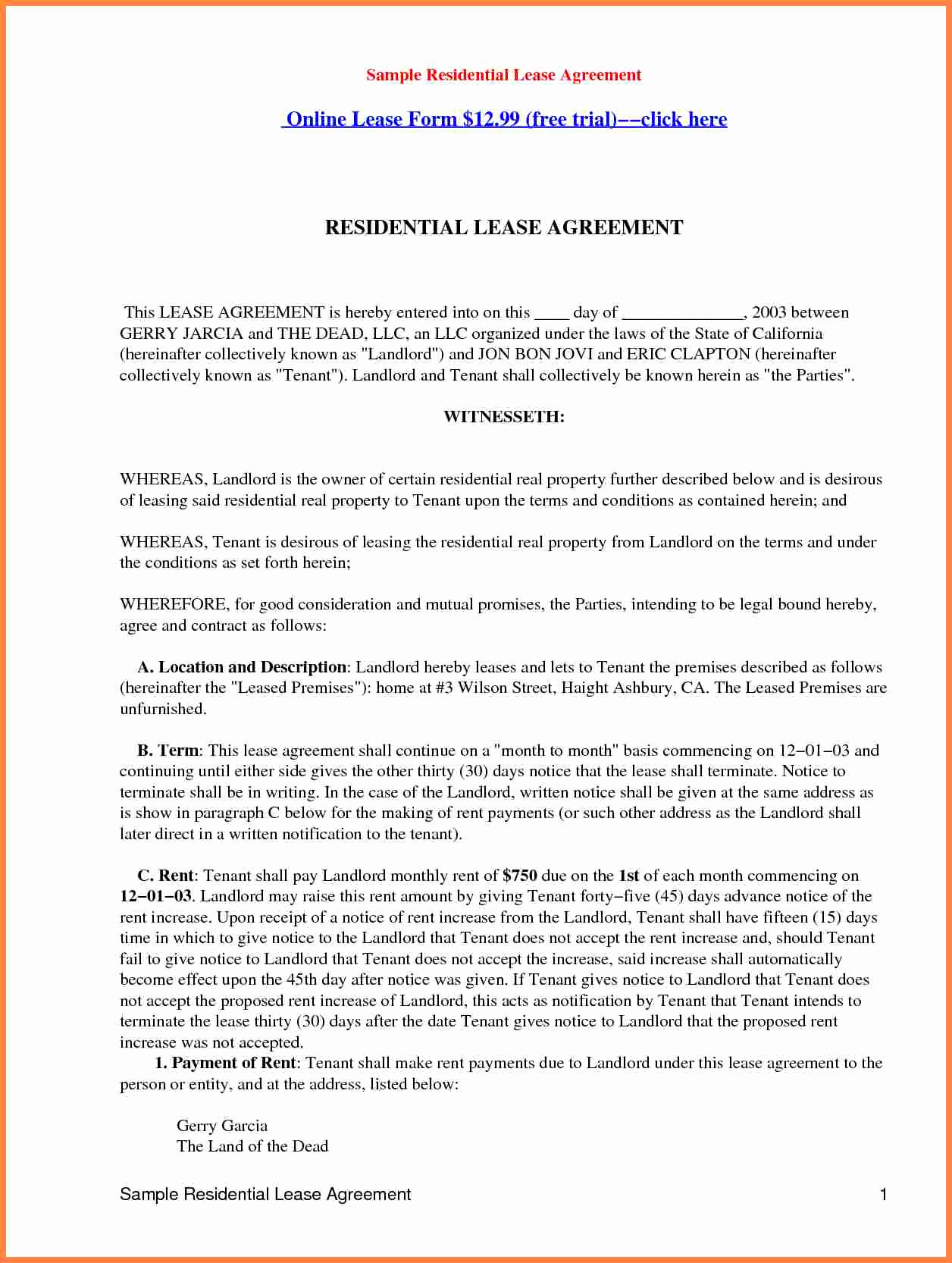 Sample Residential Lease Agreement Beautiful 7 Residential Property Lease Agreement Template