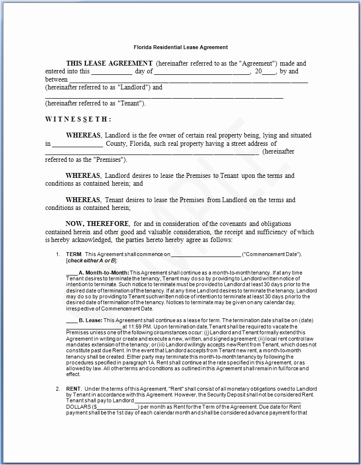 Sample Residential Lease Agreement Beautiful Free Printable Residential Lease form Generic
