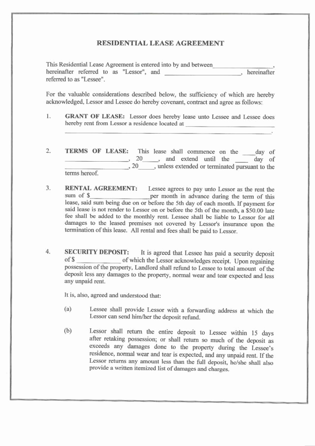 Sample Residential Lease Agreement Luxury Free Printable Residential Lease form Generic