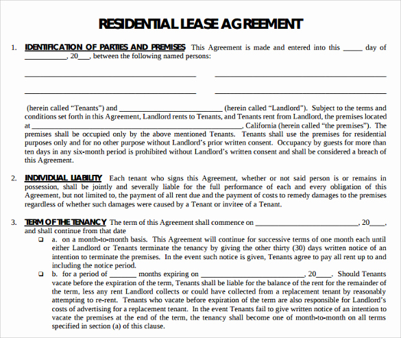 Sample Residential Lease Agreement New Printable Lease Agreement 15 Documents Download for