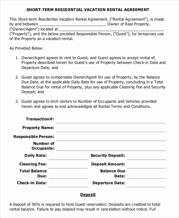 Sample Residential Lease Agreement Unique 10 Vacation Rental Agreement – Free Sample Example