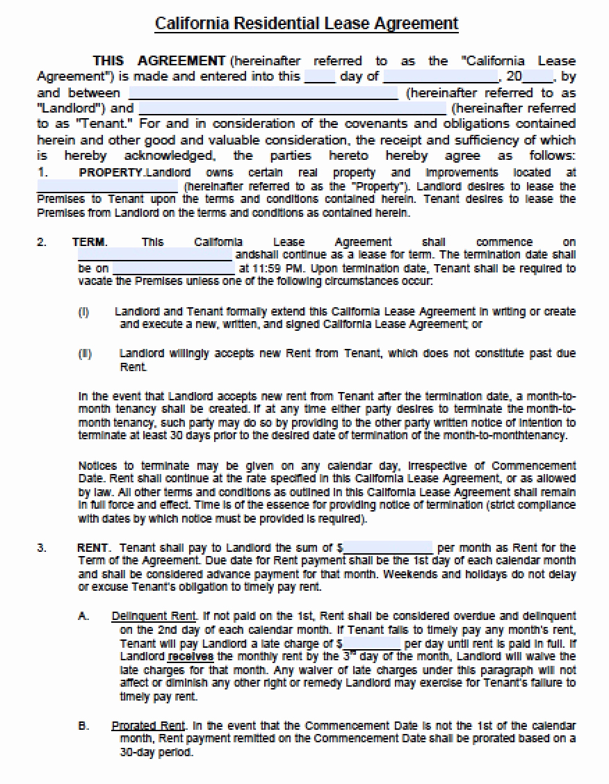 Sample Residential Lease Agreement Unique Free California Residential Lease Agreement Pdf