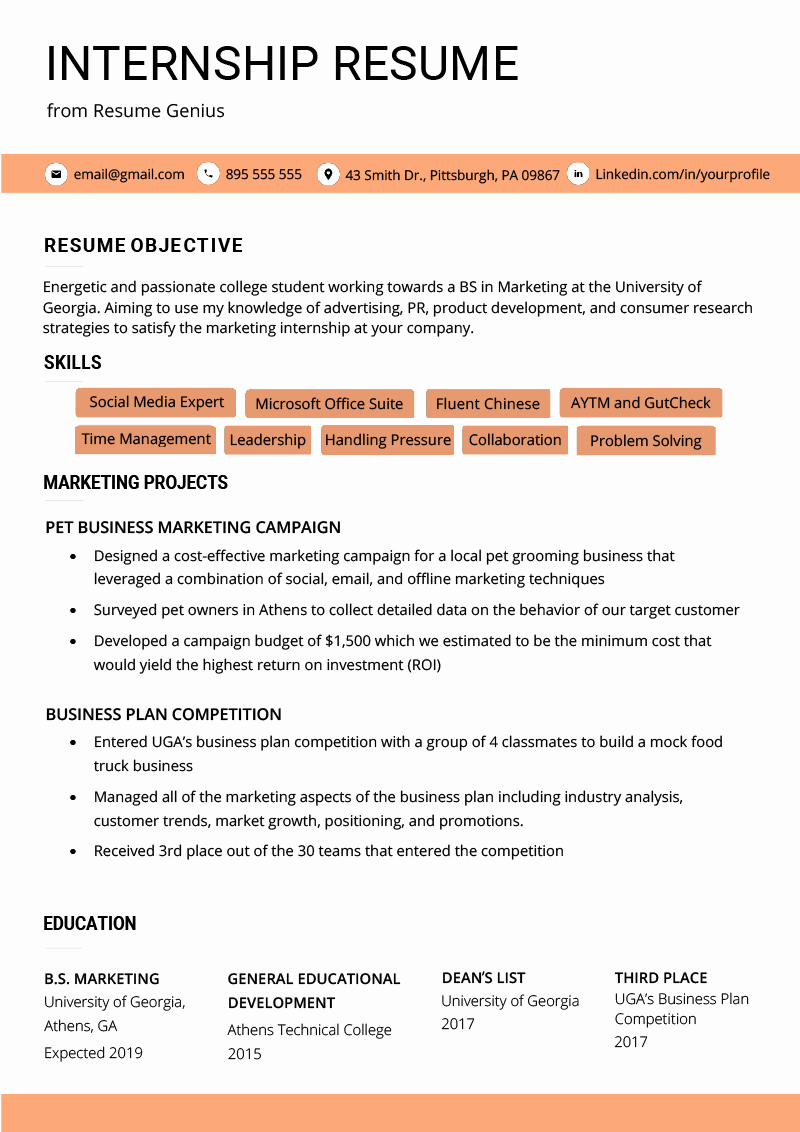 Sample Resume College Student Awesome Internship Resume Samples & Writing Guide