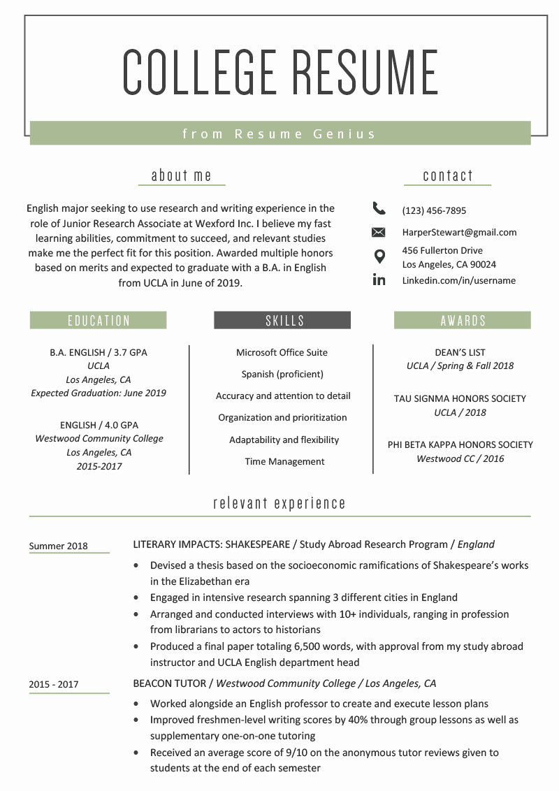 Sample Resume College Student Elegant College Student Resume Sample & Writing Tips