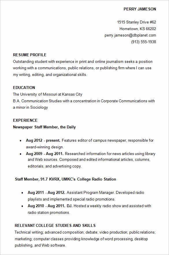 Sample Resume College Student New College Resume Examples