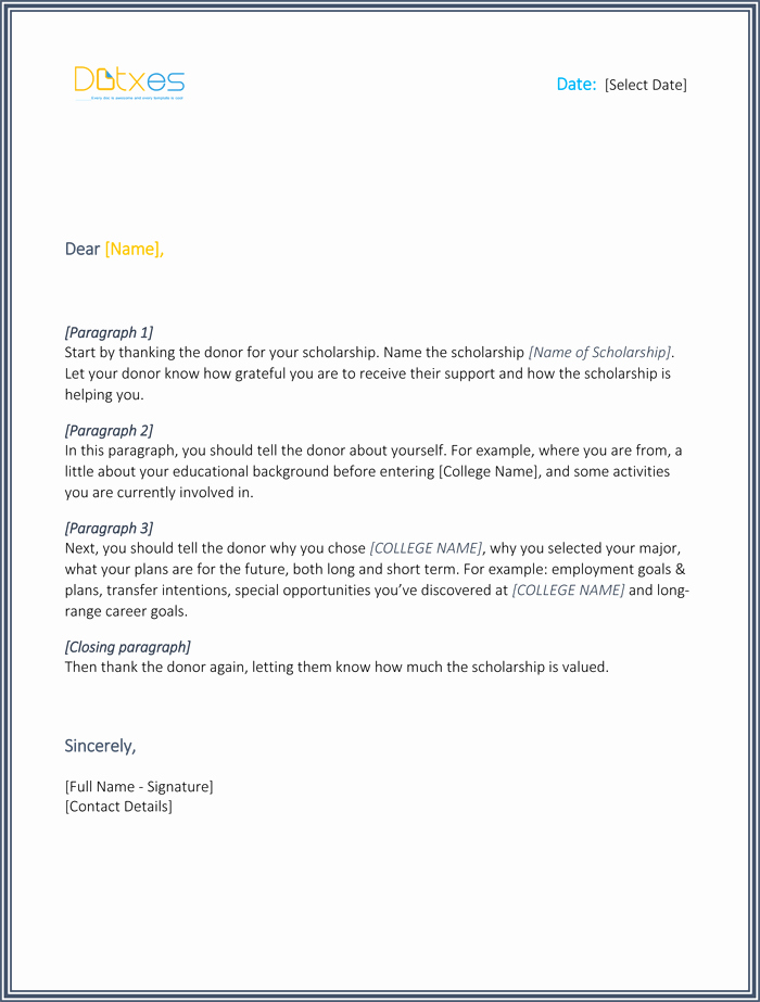 Sample Scholarship Thank You Letter Awesome Scholarship Thank You Letter 7 Sample Templates You