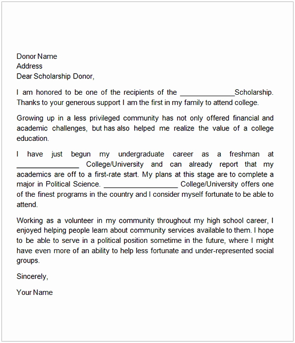 Sample Scholarship Thank You Letter Awesome Thank You Letter for Scholarship Sample