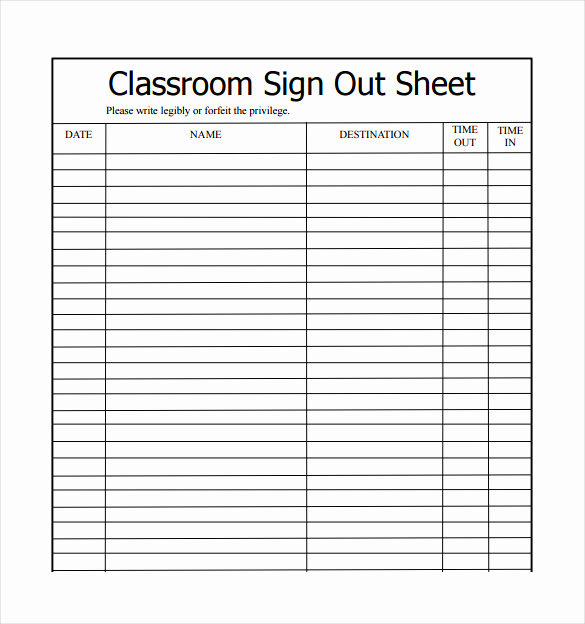 Sample Sign In Sheet Fresh 16 Sign Out Sheet Templates Free Sample Example