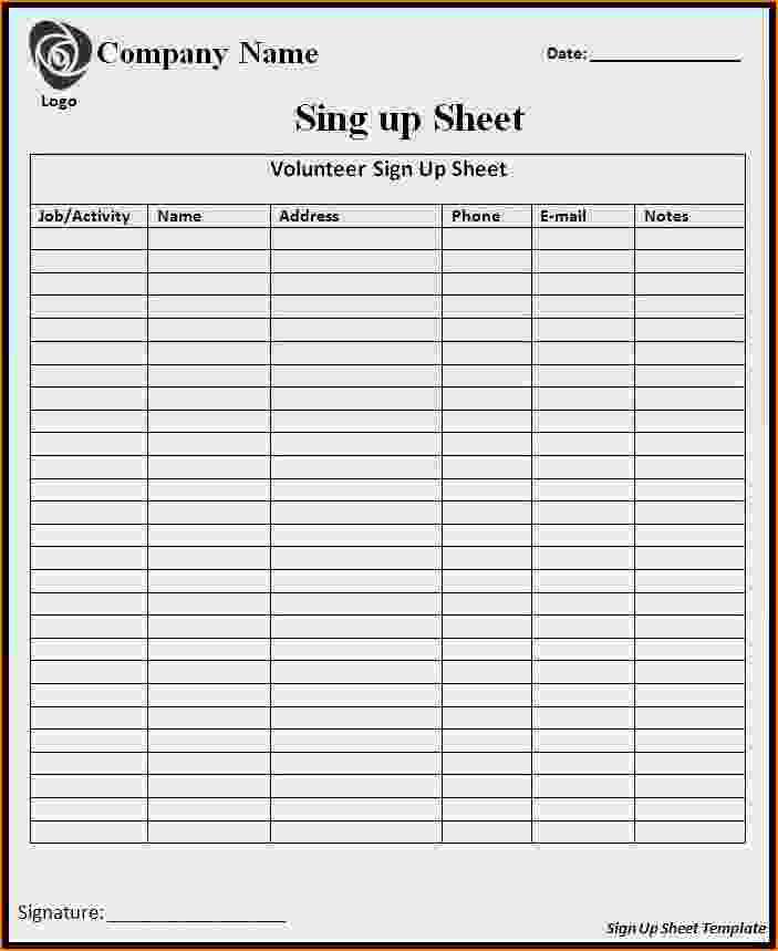 Sample Sign In Sheet Fresh 5 Sample Sign Up Sheet