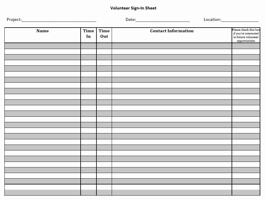 Sample Sign In Sheet Lovely 10 Free Sample Volunteer Sign In Sheet Templates