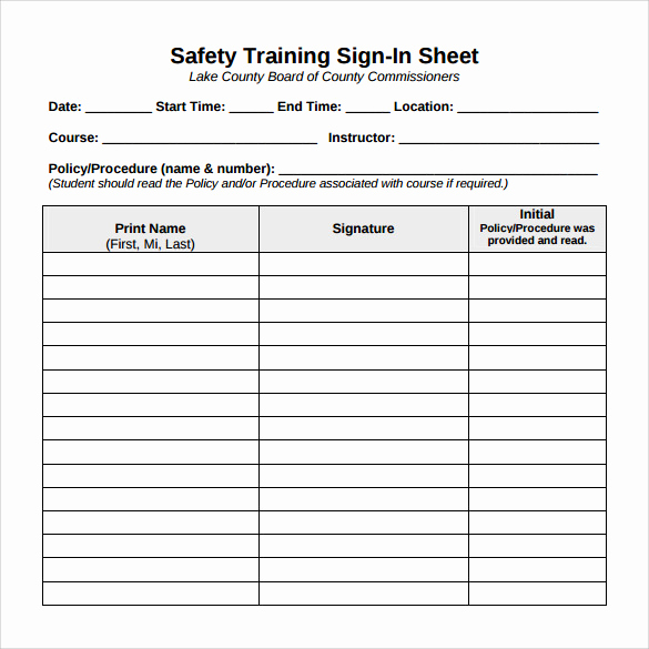 Sample Sign In Sheet Lovely Sample Training Sign In Sheet 11 Examples & format