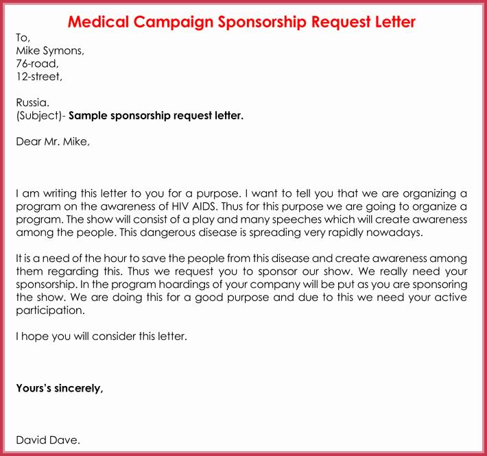 Sample Sponsorship Request Letter Fresh Sponsorship Request Letter 12 Best Samples formats