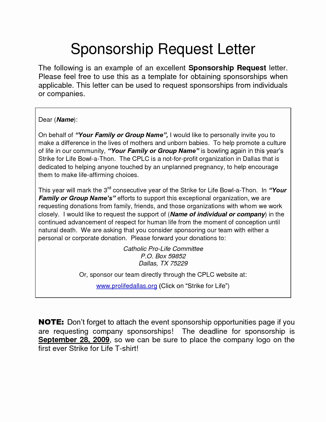 Sample Sponsorship Request Letter Inspirational Corporate Sponsorship Request Letter Charity Donation Free