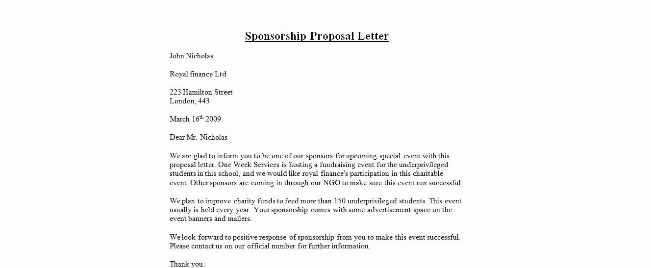 Sample Sponsorship Request Letter Unique 7 Sponsorship Proposal Templates Excel Pdf formats
