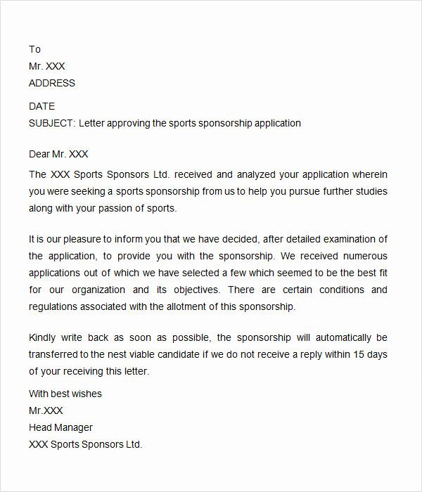 Sample Sponsorship Request Letter Unique Sponsorship Letter 7 Free Download for Word