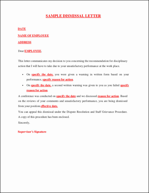 Sample Termination Letter for Cause Awesome 33 Printable Termination Letter Samples & Templates Pdf