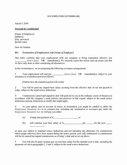Sample Termination Letter for Cause Unique Canada Employee Termination Letter for Cause