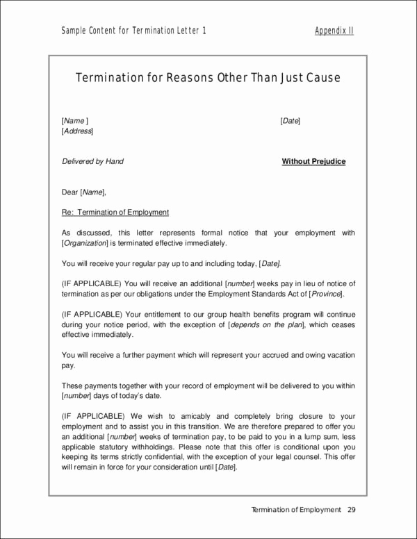Sample Termination Letter without Cause Fresh 33 Printable Termination Letter Samples & Templates Pdf