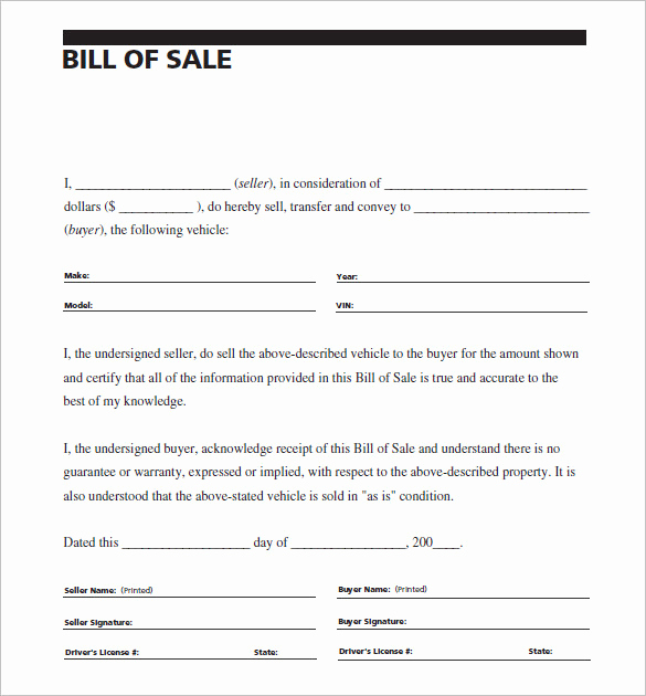 Sample Vehicle Bill Of Sale Inspirational 8 Auto Bill Of Sale Doc Pdf