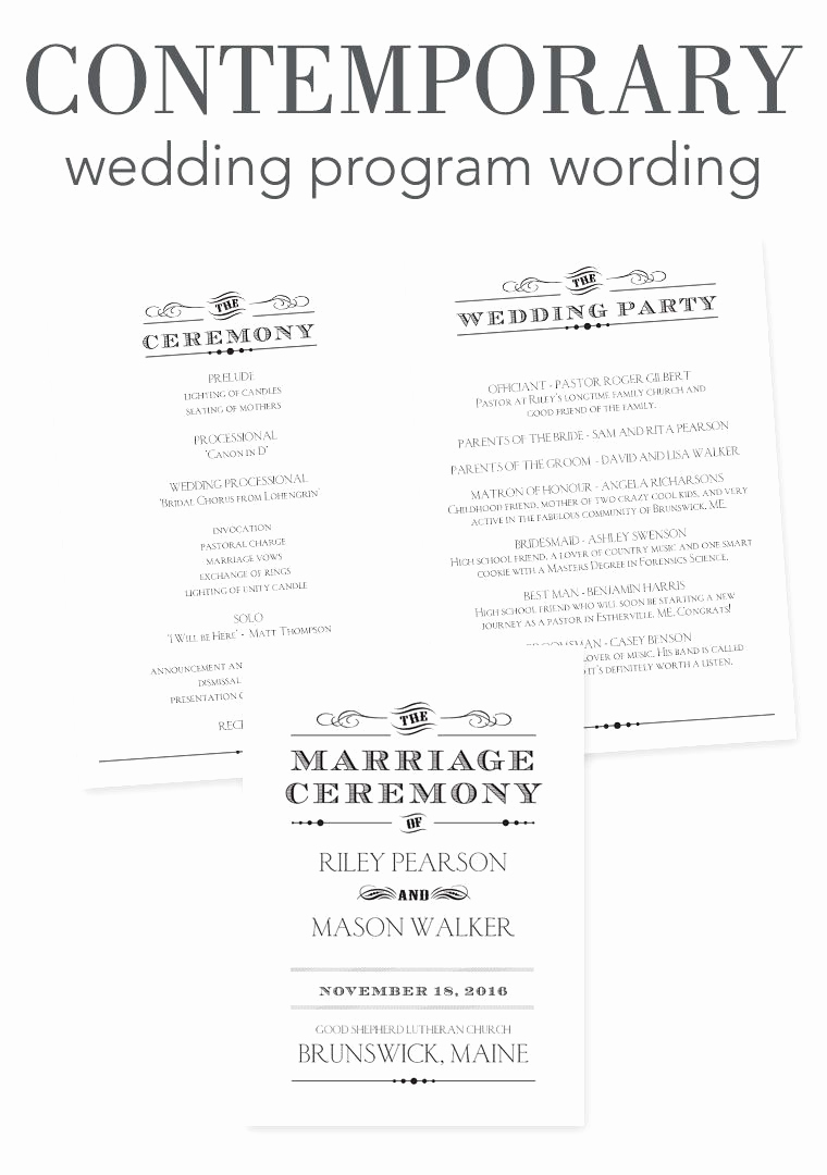 Sample Wedding Ceremony Program Elegant How to Word Your Wedding Programs Contemporary Wording