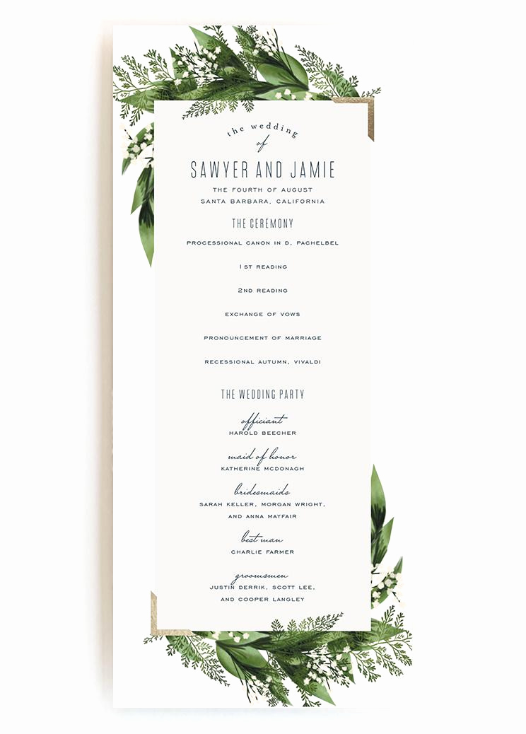 Sample Wedding Ceremony Program Elegant Wedding Programs Wedding Program Wording