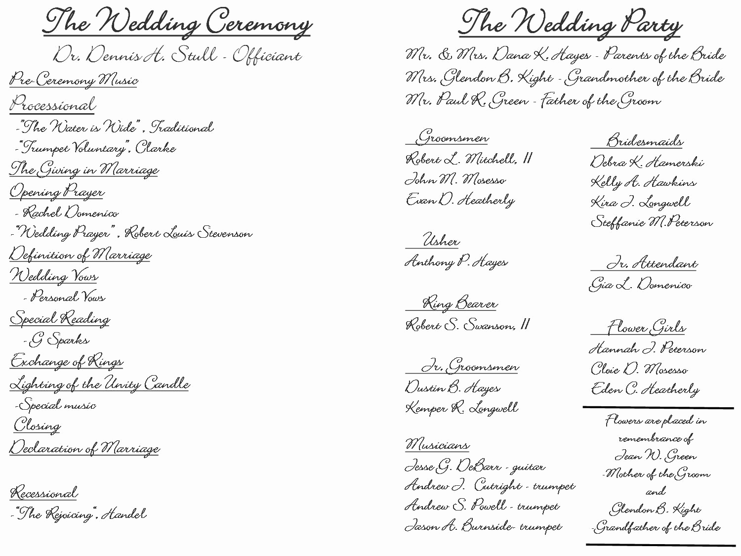 Sample Wedding Ceremony Program Inspirational Creative Wedding Programs