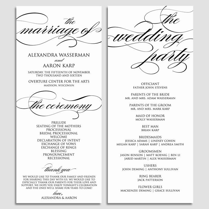 Sample Wedding Ceremony Program Lovely Wedding Program Template Wedding Program by Modernsoiree