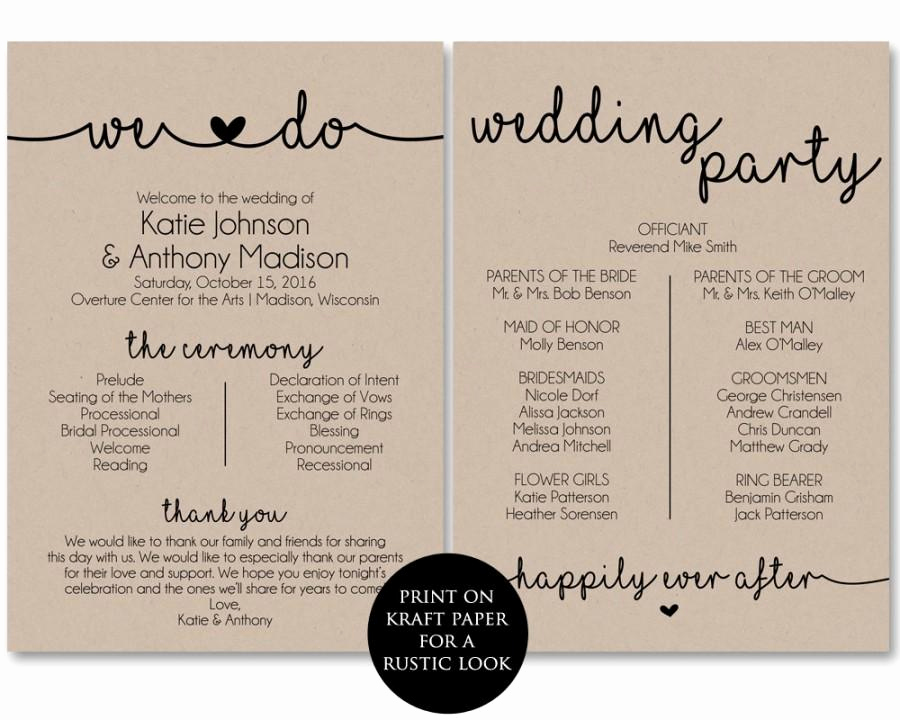 Sample Wedding Ceremony Program Luxury Ceremony Program Template Printable Wedding Programs