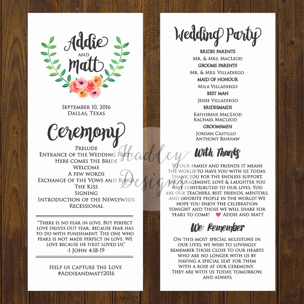 Sample Wedding Ceremony Program Luxury Hadley Designs Programs