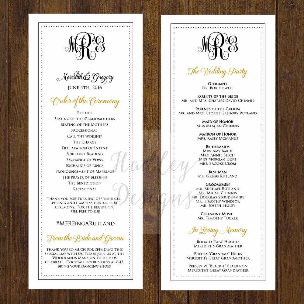 Sample Wedding Ceremony Program New Hadley Designs Programs