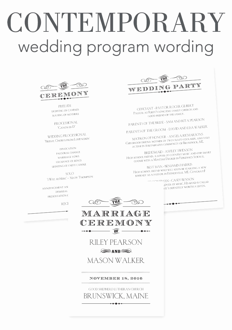 Sample Wedding Ceremony Program New How to Word Your Wedding Programs