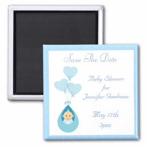Save the Date Baby Shower Beautiful Baby Boy & Balloons Blue Save the Date Baby Shower Magnets