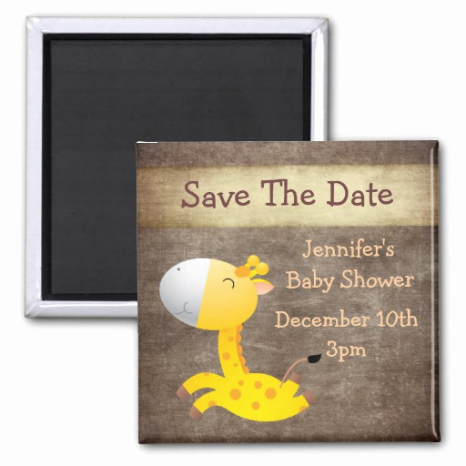 Save the Date Baby Shower Beautiful Cute Giraffe Save the Date Baby Shower Fridge Magnets