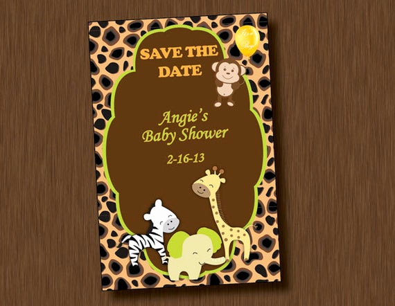 Save the Date Baby Shower Beautiful Printable Baby Shower Save the Date Invitation Jungle Animal