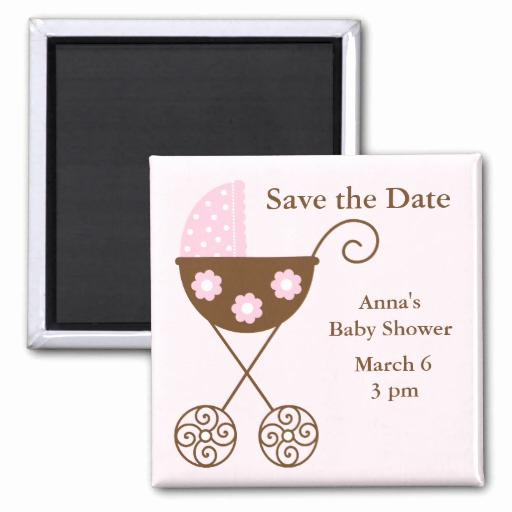 Save the Date Baby Shower Elegant Pink Stroller Baby Shower Save the Date Refrigerator
